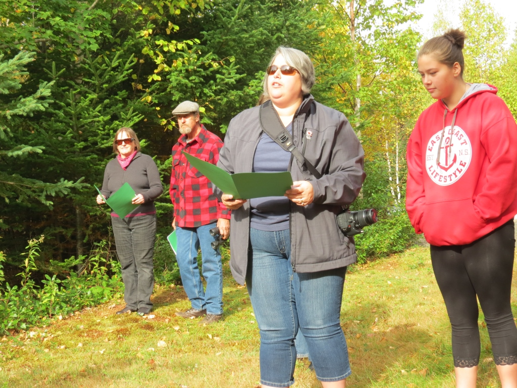 On-site rehearsal, Oct. 2014: Paula, Ardena, and Melissa Paul read the 1783 Lands Right Declaration